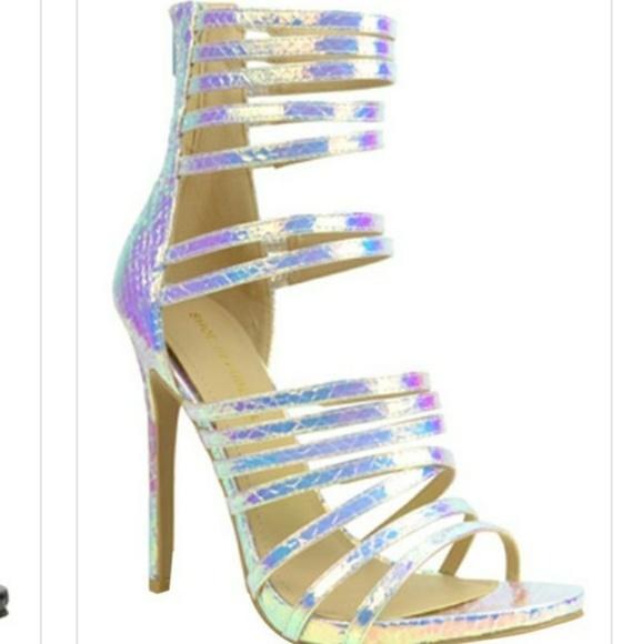 493bbec8ff10 Hologram Open Toe Strap Style Heels